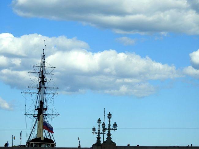 Troickii Bridge Ships⚓️⛵️🚢 Neva River Sankt-Petersburg Walking Around Russia Clouds And Sky Blue Sky Magic Place ☀️ Sunnyday☀️