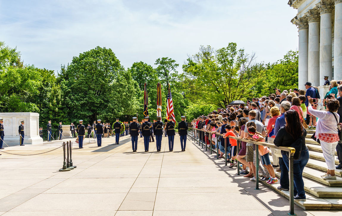 Arlington National Cemetery Armed Forces Day Footpath Graveyard Heroes Honor Guard In A Row Large Group Of People Leisure Activity Lifestyles Military Mixed Age Range Outdoors Person Police Respect Sky Soldiers The Way Forward Tomb Of The Unknown Soldier Tourist Tree Up Close Street Photography Washington, D. C.