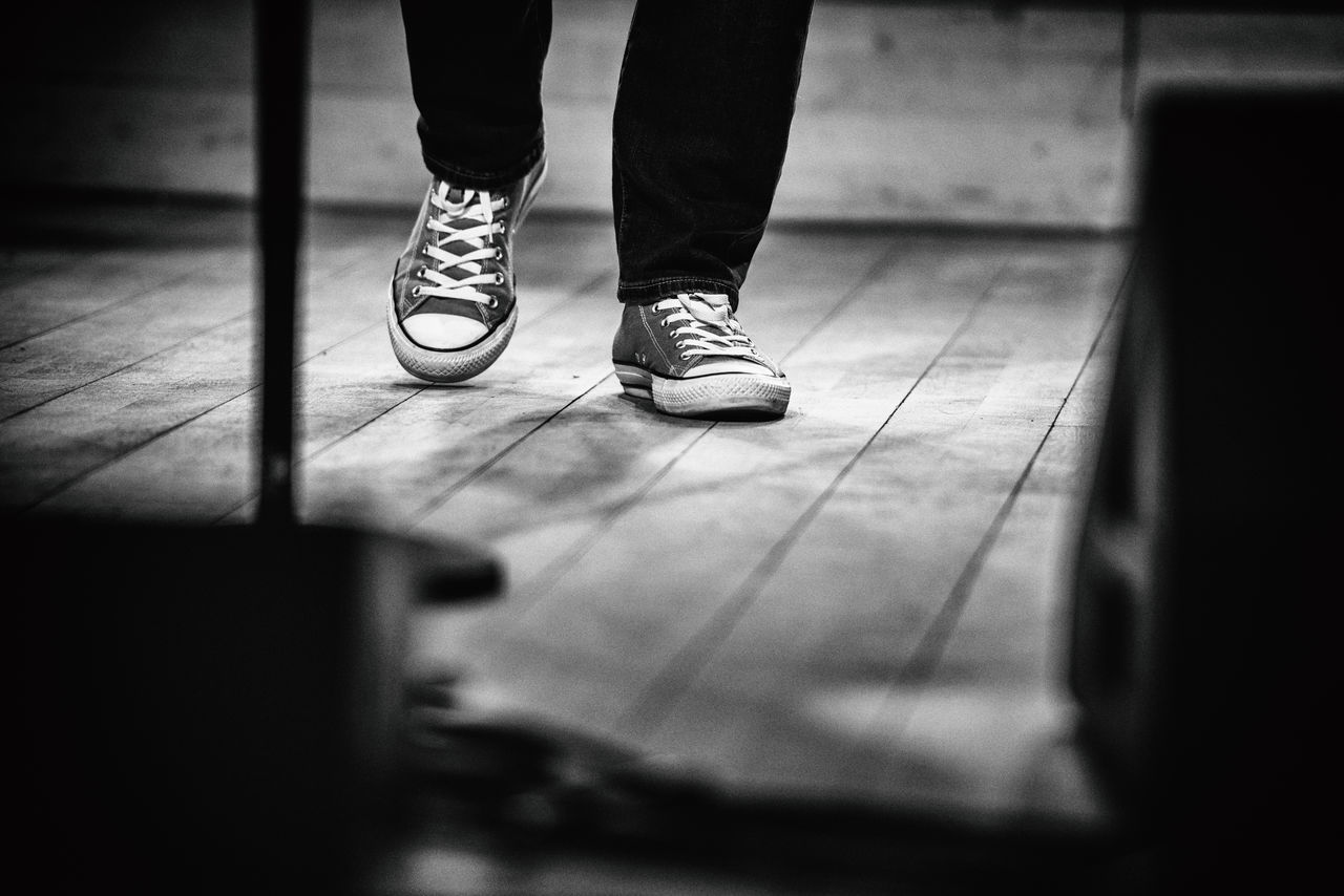 Blackandwhite Canvas Shoe Converse Converse All Star Foot Footsteps Gait Human Body Part Human Leg Indoors  Low Section Pace Shoe Standing Steps Walk