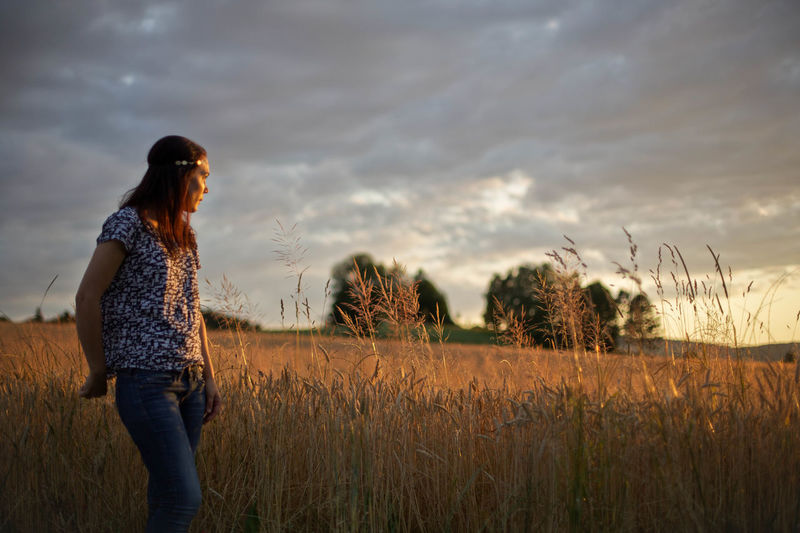 Alive  Beauty In Nature Country Countryside Field Freedom Goldenhour In Awe Landscape Looking Forward Mood Nature One Young Woman Only Outdoors Outside People Sky Standing Summer Sunset Thinking Woman