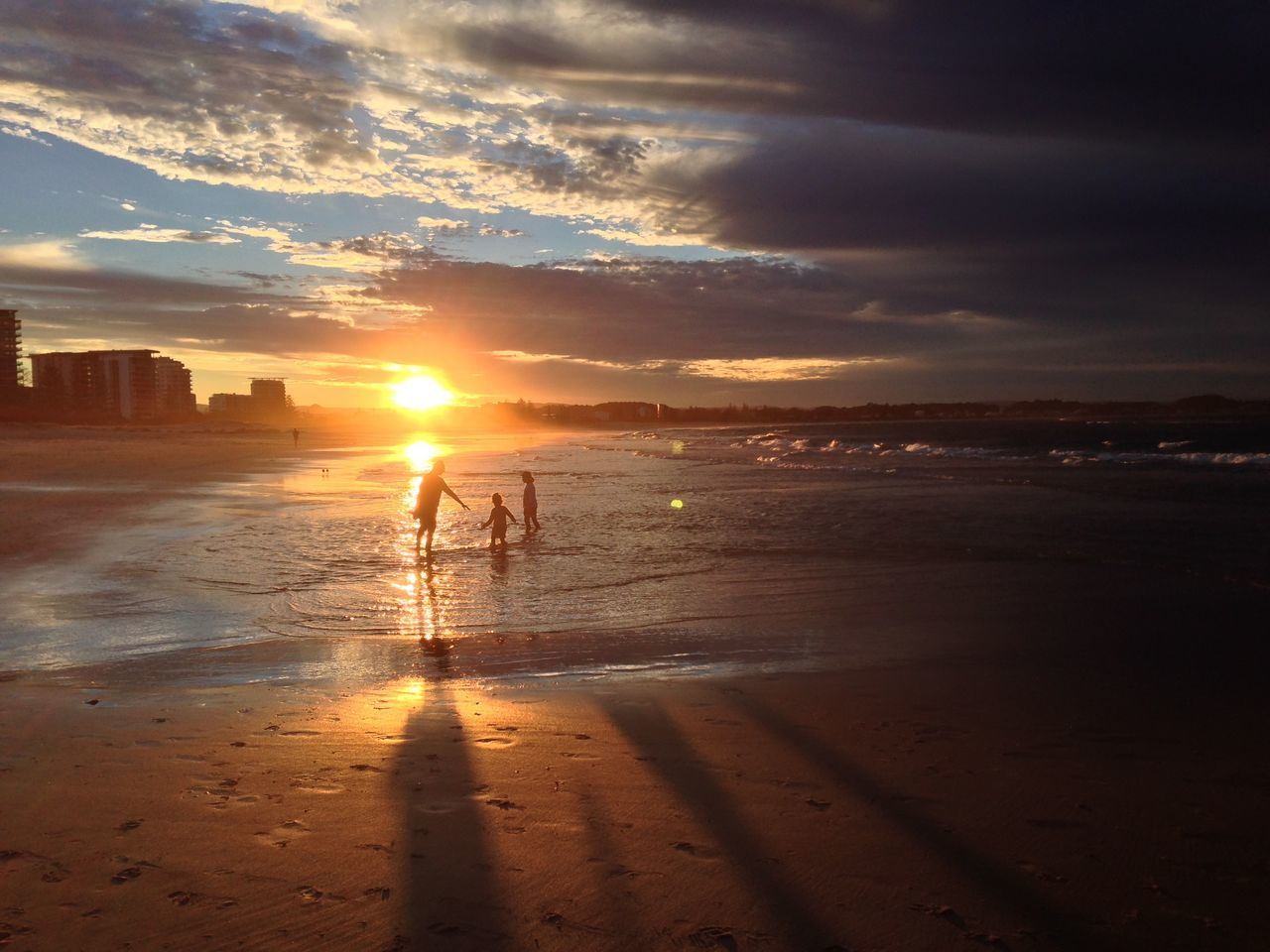 Beach Beauty In Nature Cloud - Sky Family Kids Nature Outdoors Reflection Sand Scenics Sun Sunlight Sunset Value Bonding