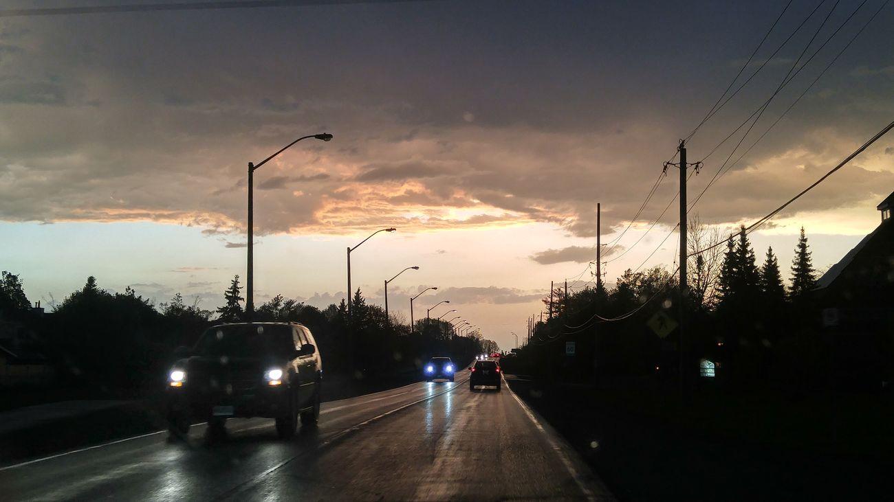 Rain, road, driving in the rain. Wet Car Cloud - Sky