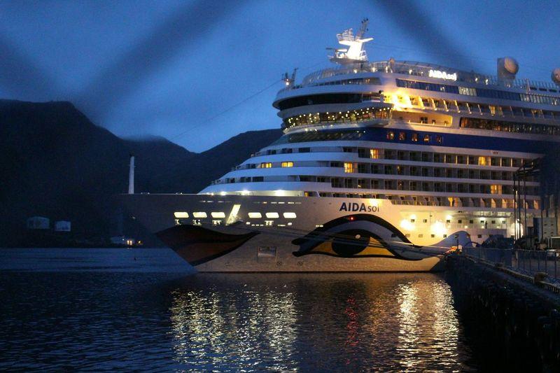 the smile. Honningsvag Norway Port Fence No People Illuminated Water Night Lights Cruiseship Aidasol Summernight