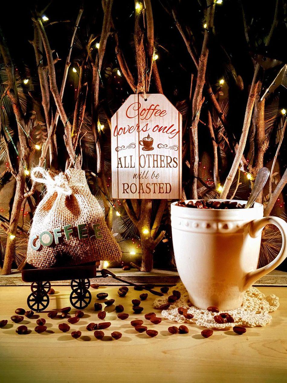 Christmas Celebration Christmas Decoration Close-up Text Christmas Ornament Christmas Tree No People Illuminated Christmas Lights Indoors  Night Coffee Life Coffee Time