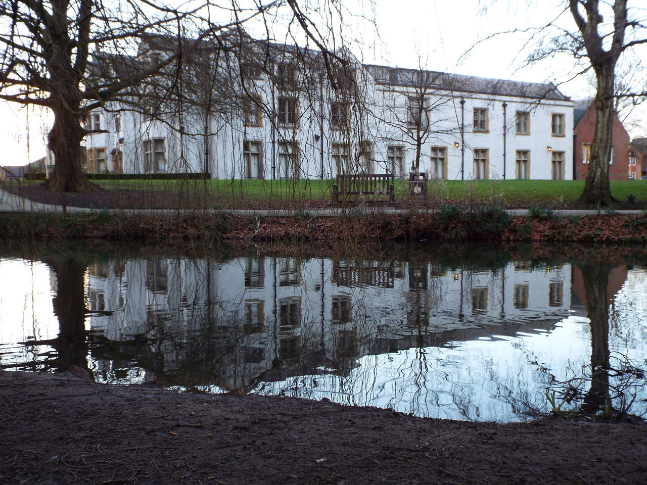 architecture, water, bare tree, reflection, built structure, tree, lake, no people, building exterior, outdoors, nature, grass, day, sky
