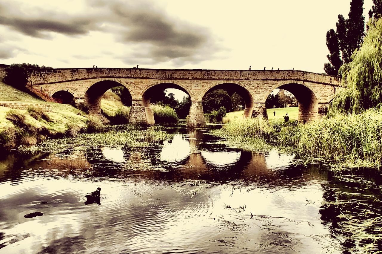 bridge - man made structure, connection, arch, arch bridge, architecture, water, built structure, day, sky, outdoors, nature, tree, no people