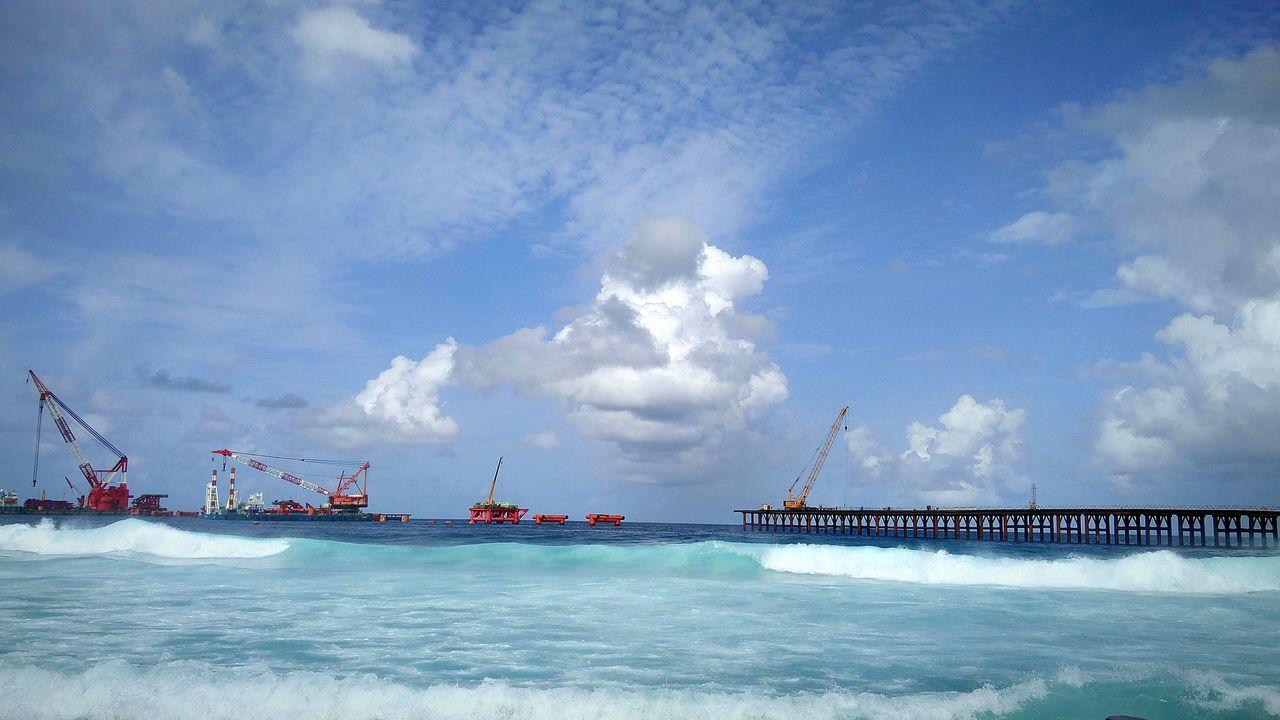 Bridge Platform to remember Afternoon Maldives Male'city Hulhule Hulhumale Building Bridges Sea And Sky Waves