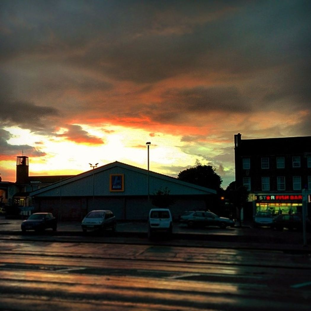 Bristol City England Southmead urban sunset cloud church aldi store fish and chips