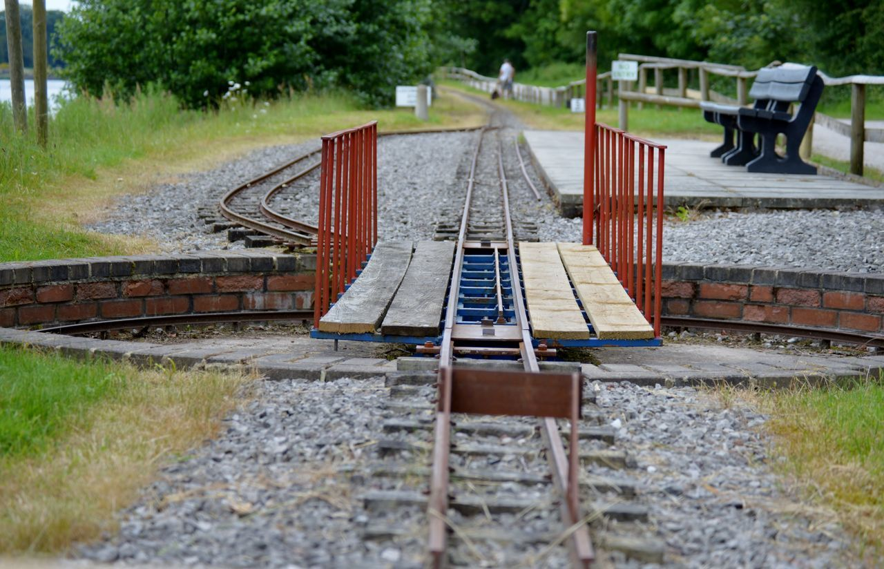 Absence Bench Check This Out Double Take  Empty Into The Distance Leading Leading Lines Look Miniture Nikon D3200 Perspective Perspective Railing Railway Showcase: February Train Train Tracks Trenthamgardens Turn Table Wood - Material Wooden