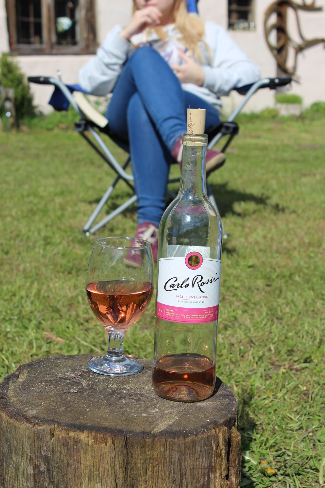 Bottle Carlo Rossi Close-up Day Focus On Foreground Grass Grass Holiday Nature Outdoors Pink Wine Relaxing Moments Relaxing Time Sweet Wine Wine Wine Glass Wine Moments