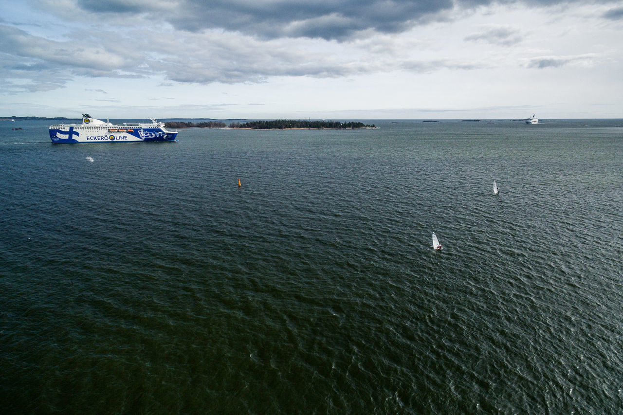 Beauty In Nature Cloud - Sky Day Drone  Finland From Above  Helsinki High Angle View Horizon Over Water Mode Of Transport Nature Nautical Vessel No People Outdoors Sailing Scenics Sea Sky Top Perspective Tranquil Scene Tranquility Transportation Water Waterfront