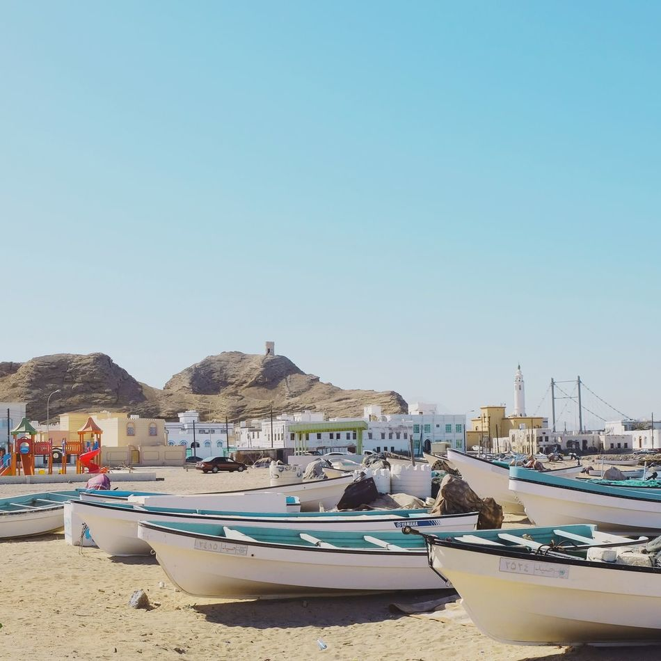 Nautical Vessel Transportation Moored Mode Of Transport Water Clear Sky Blue Boat Nature Architecture Day Beach Outdoors Built Structure No People Building Exterior Sea Beauty In Nature Scenics Sky Oman Şūr Travel Tourism Vacation
