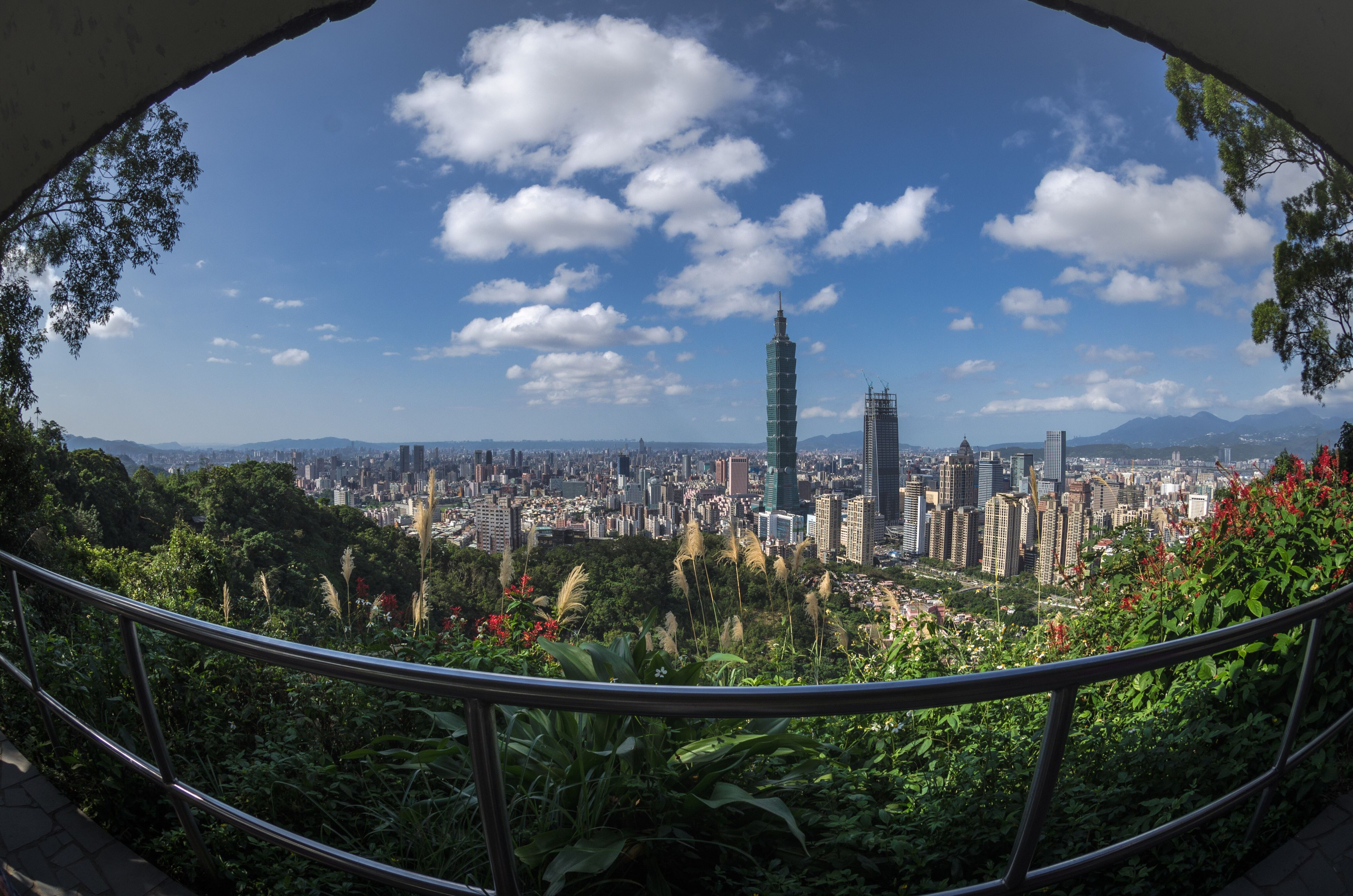 city, architecture, tree, travel destinations, high angle view, growth, sky, building exterior, city life, built structure, outdoors, cityscape, fish-eye lens, skyscraper, urban skyline, day, no people