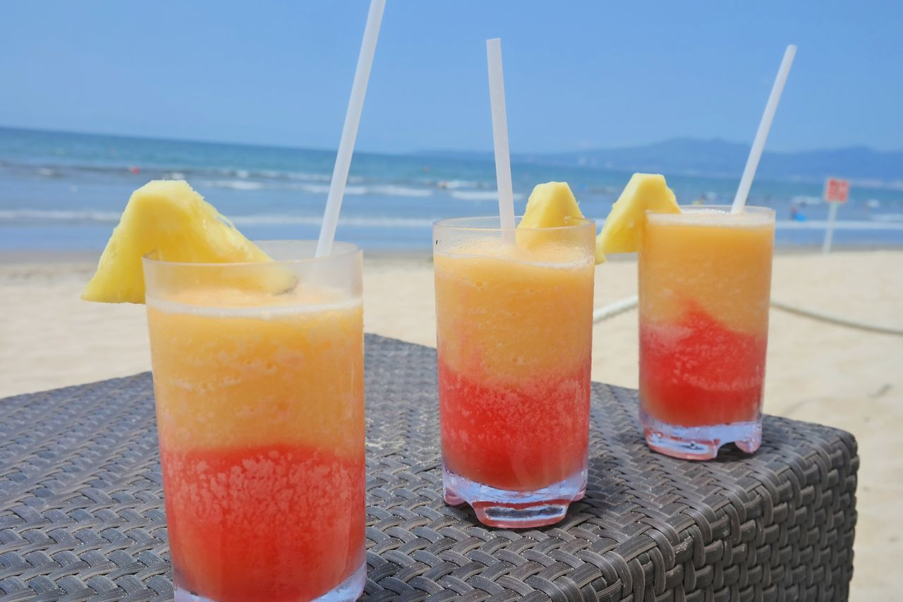 Fruity Drink At The Beach Vacation Vacation Time Beverages In The Sun In The Sunshine Travel Travelphotography Travel Destinations Traveling