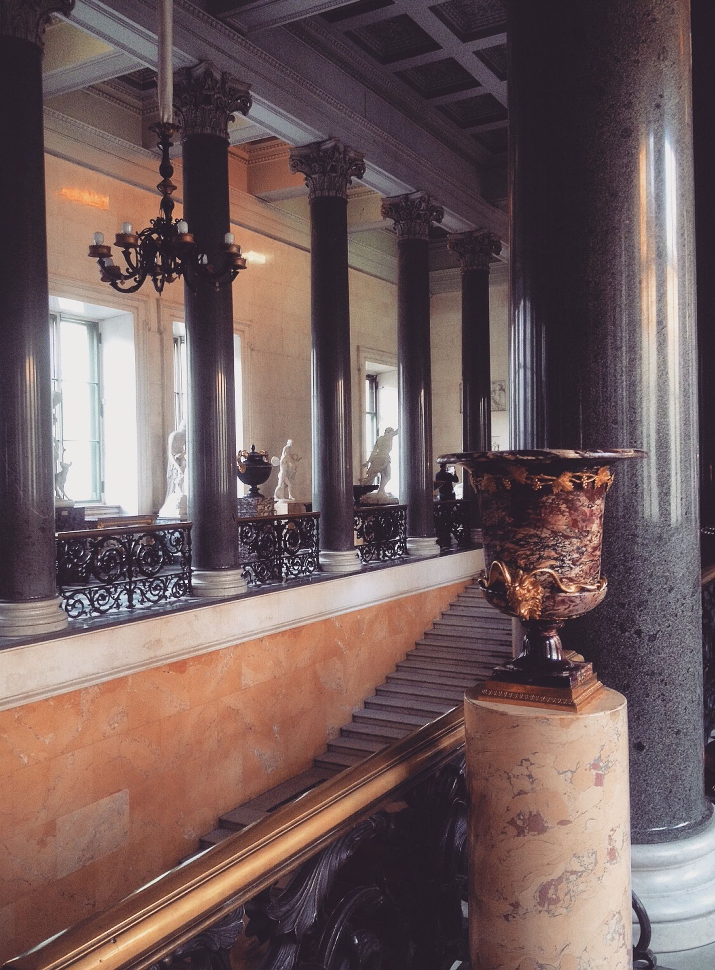 indoors, architectural column, built structure, architecture, column, ceiling, interior, old, day, no people, metal, pillar, window, railing, wood - material, sunlight, empty, support, absence, abandoned