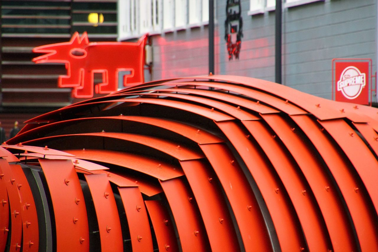 red, building exterior, outdoors, no people, architecture, built structure, communication, day, close-up