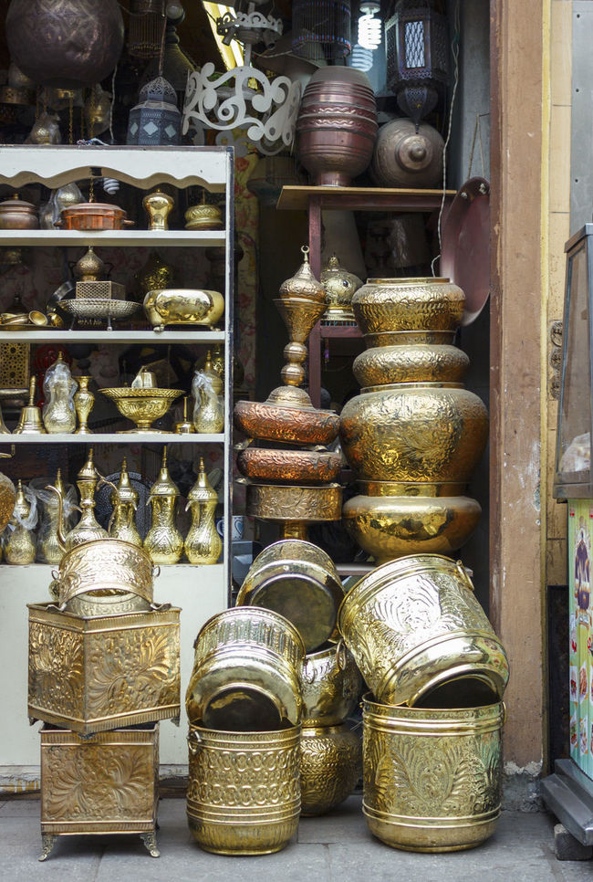 Antique Arrangement Choice Container Display Egypt Egyptian For Sale Golden Hand Made Large Group Of Objects Market Market Stall Metal No People Old Cairo Retail  Shelf Shop Side By Side Souvenirs Stack Still Life Store Variation