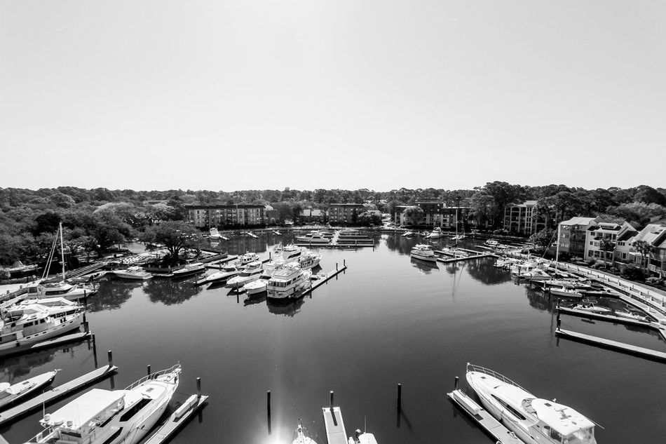 The view from the lighthouse on Hilton Head, SC Blackandwhite Cityscape Elevated View Hilton Head Island Marina Outdoors Travel Destinations View From Above Water Waterscape Yacht
