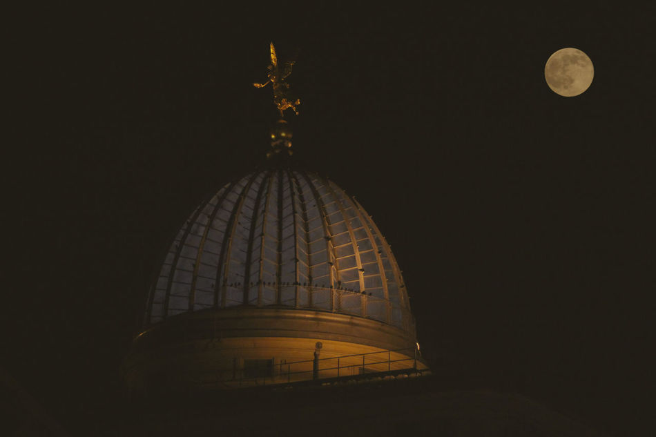 Dome of the Town hall tower in Dresden in the Moonlight Architecture Dome Dresden Full Moon Full Moon 🌕 Moon Moonlight Night No People Outdoors Rathausturm Sky Tower Town Hall Tower