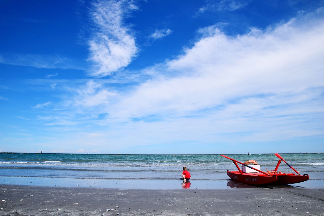 Beach Sea Horizon Over Water Red Water Sand Sky People Outdoors One Person Travel Destinations Nature Full Length Cloud - Sky Day Blue Child Child Only Ravenna Italy