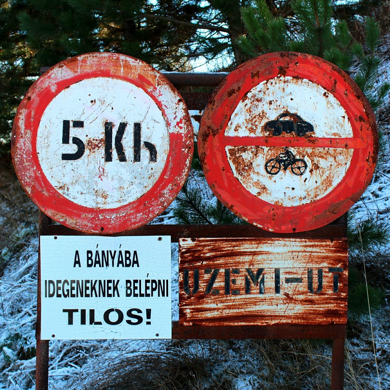 Rules Rules Rules Of The Road Rules Are Made To Be Broken Gravel Mine Gravel Pit Marko Hungary Winter Day No People Old Forest Photography No Entrance Speed Limit Sign Speedlimit Traffic Sign Old Fashion Adapted To The City