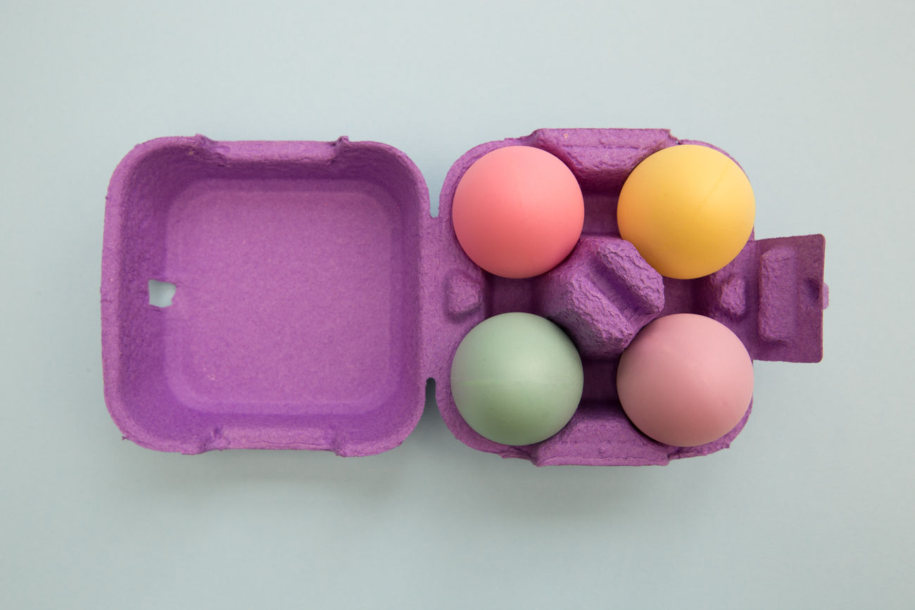 Easter eggs Bright Carton Colorful Colors Cute Easter Eggs Overhead View Studio Shot Tray
