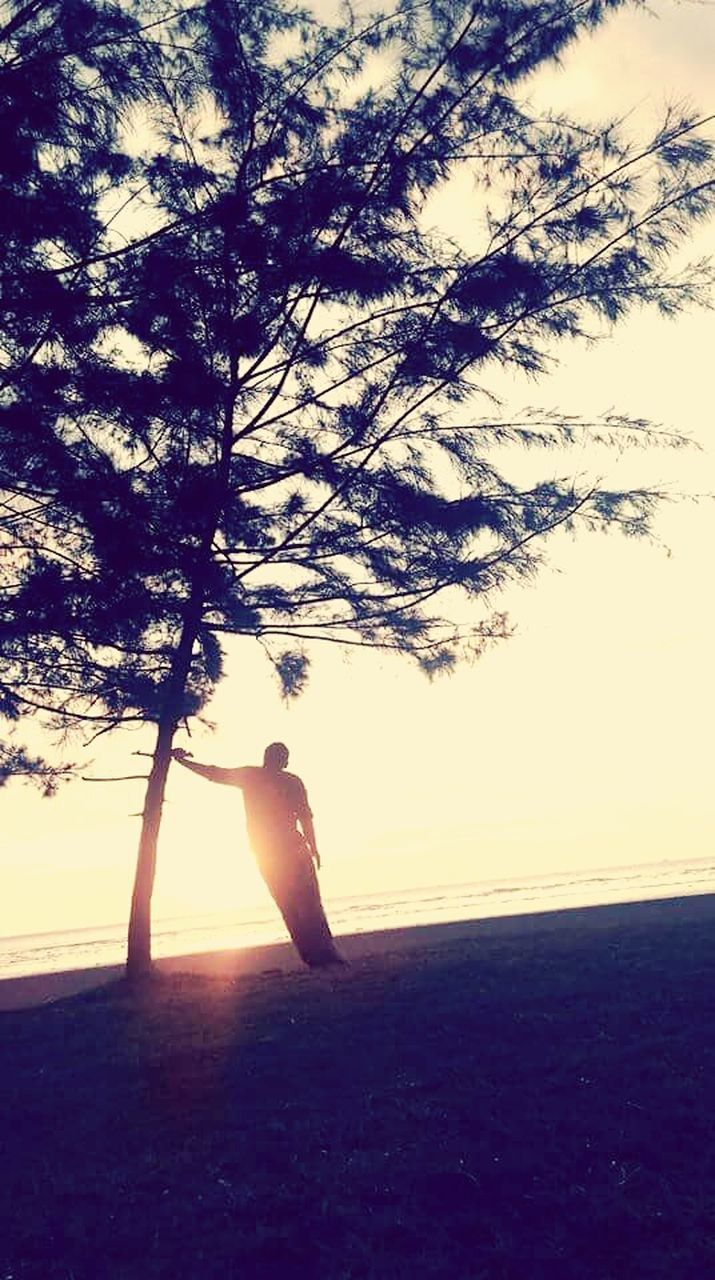 one person, real people, nature, tree, beach, beauty in nature, silhouette, tranquil scene, sunset, lifestyles, sea, outdoors, sky, tranquility, water, scenics, full length, women, day, young women, young adult, people
