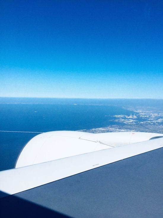 Go, Vantege Point : Horizon Over Water Scenics Tranquility Airplane Wing Blue Sky Kisarazu Chiba,Japan All Nippon Airways inspiration of Japan Airplane Window View Tokyo Bay Aqua Line 木更津上空いらっしゃいませ Final Approach Haneda Airport IPod Touch Photography 33mm handheld October 2017 Travel Destinations de Good Morning