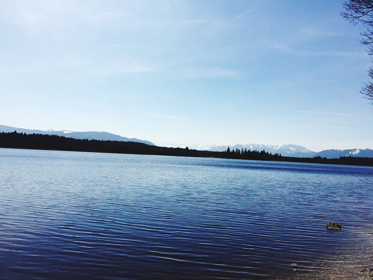 Lake View with Mountains in the background at Kirchsee near Bad Tölz , Nature EyeEm Nature Lover Sunny Day Blue Sky
