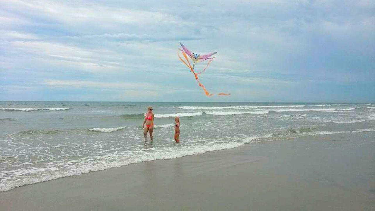 Topsail Island, NC Colour Of Life Ocean Atlantic Ocean Sky Blue Sky Kite Flying A Kite Waves Beach Sand