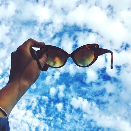 Sky Sunglasses Blue Cloud - Sky Blue Sky Clouds Low Angle View Outdoors Dreaming Day One Person IPhoneography Travel Nature Discover  Wandering EnjoytheNewNormal