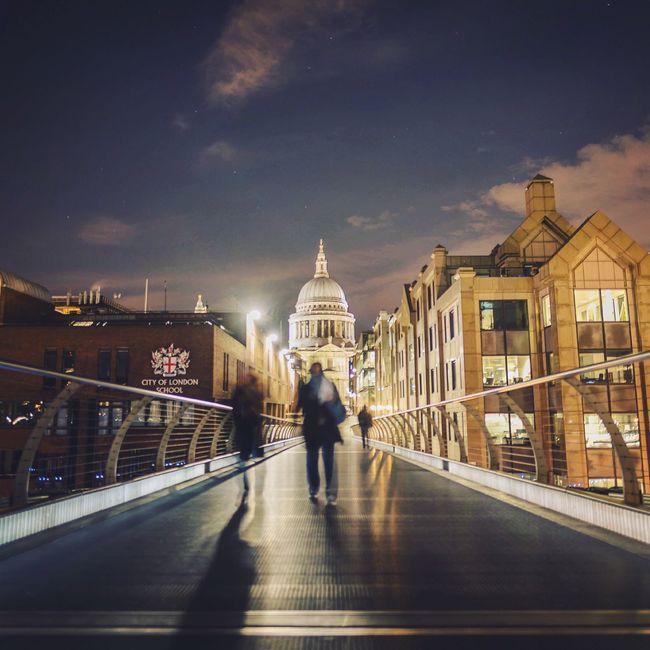 Going Home London LDN Cityscapes The Street Photographer - 2016 EyeEm Awards Night Photography City Life City Lights Night Lights St Paul's Cathedral Millenium Bridge City At Night Londonlife Capital Cities  People Walking  Going Home After Work Bridge London At Night  London After Dark After Dark Cities At Night