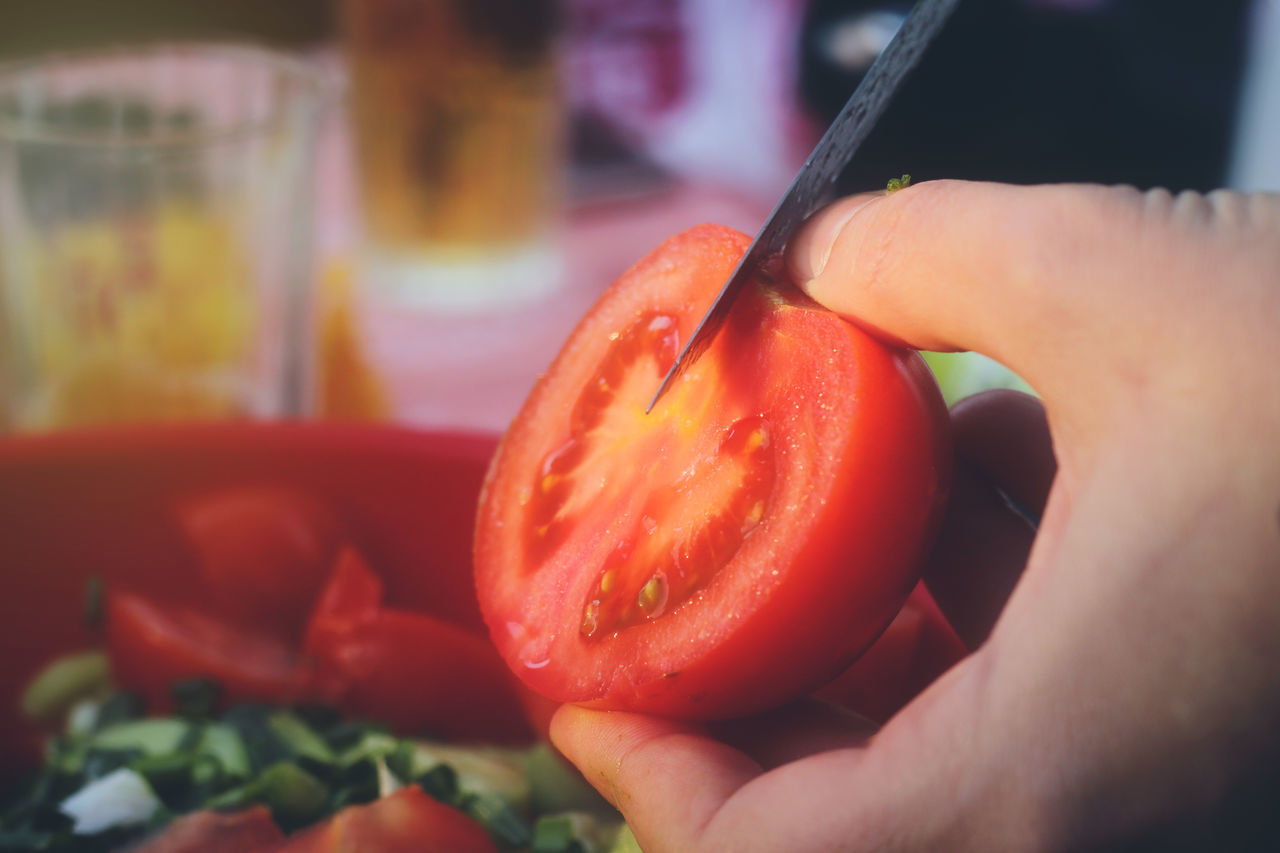Tomato Close-up Day Focus On Foreground Food Food And Drink Freshness Fruit Healthy Eating Holding Human Body Part Human Hand Knife Lifestyles Red Salad Time Sliced Tomato Vegetable