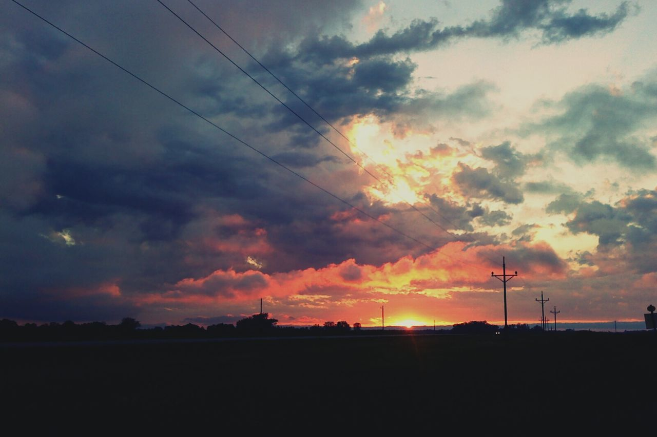 sunset, sky, silhouette, nature, cable, cloud - sky, connection, beauty in nature, no people, landscape, scenics, electricity, technology, outdoors, electricity pylon, day