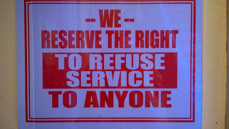 Communication Red Refuse Service Sign Text Wall Words