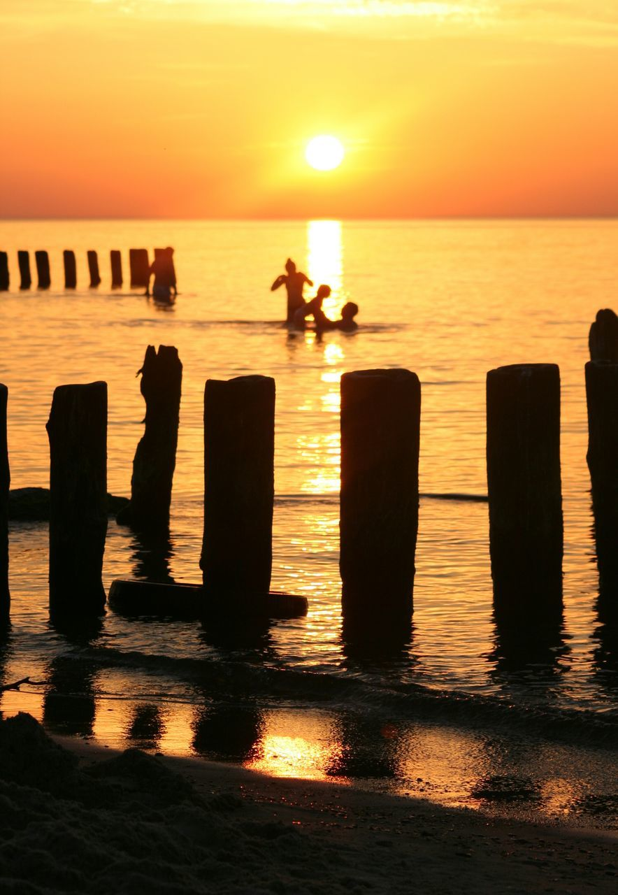 Silhouette Of Seagulls On Wooden Posts In Sea At Sunset