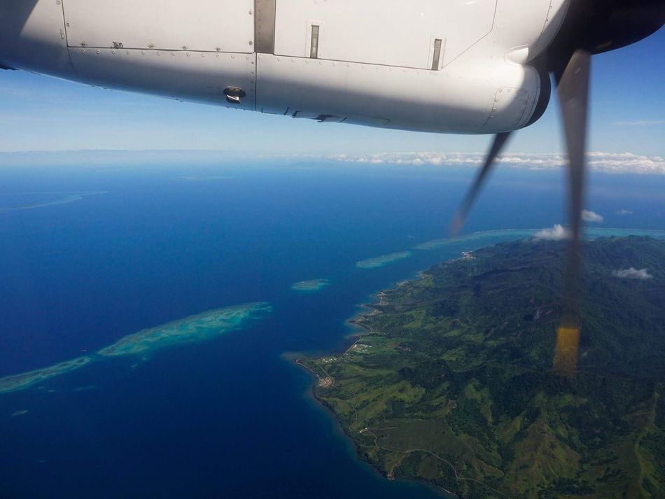 Traveling Home For The Holidays Water Nature Aerial View Sky Blue Reflection Travel Sea No People Cloud - Sky Tropical Climate Travel Destinations Airplane Scenics SUVA FIJI ISLANDS