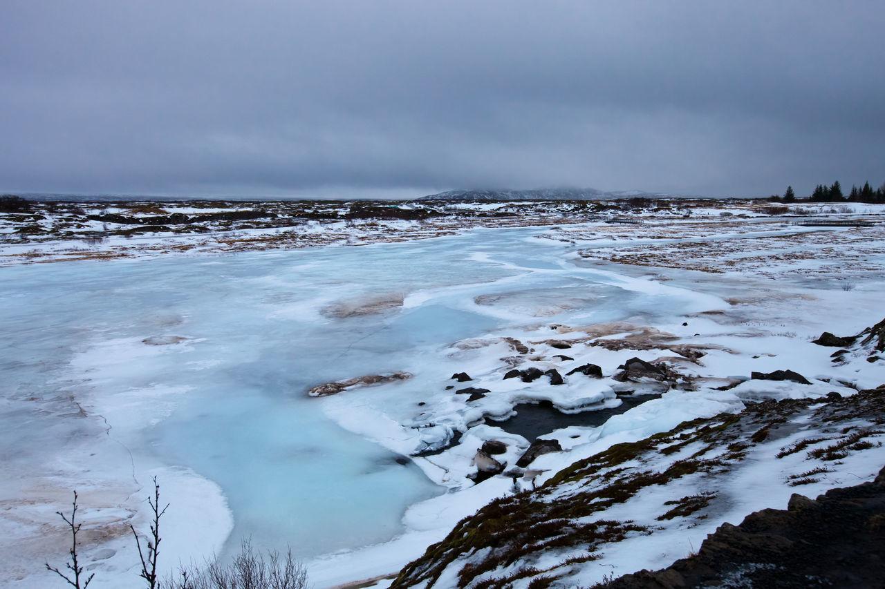 Thingvellir lake - iceland - winter - landscape - lake Blue Camaïeu Frozen Ice Iceland Lake Lake View Landscape Nature Pattern River Snow Water Window