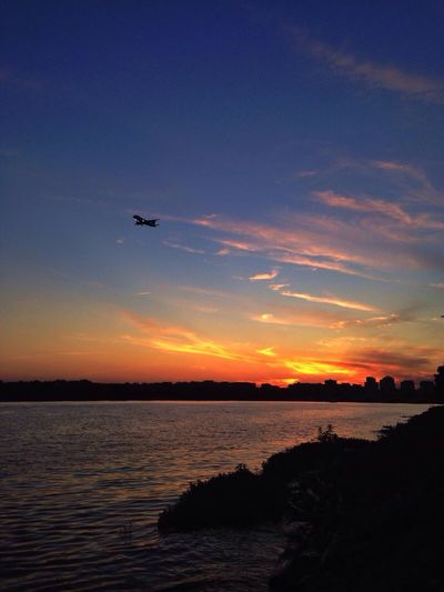 Overtaken Sunset Sunset_collection Airplane River