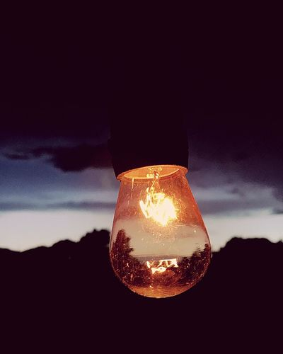 Close-up No People Electricity  Illuminated Light Bulb Sky Filament Nature Outdoors Day