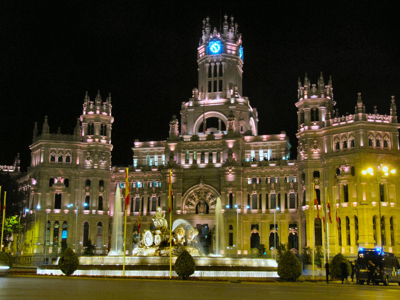 Architecture Building Exterior Capital Cities  Cibeles Illuminated Madrid Night Tourism Travel Destinations Cities At Night