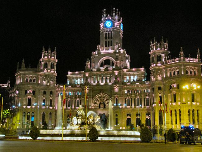 Architecture Building Exterior Capital Cities  Cibeles Illuminated Madrid Night Tourism Travel Destinations Cities At Night