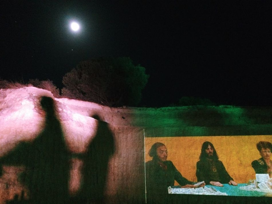 Night Illuminated Moon Movie Time Outdoors Projection Live Festival