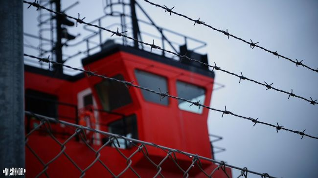 Safety Protection Fence Red Built Structure Sky Security Day Focus On Foreground No People Ship Blue Red Sonya58 EyeEm Sony Danmark Tall - High City Modern Outdoors