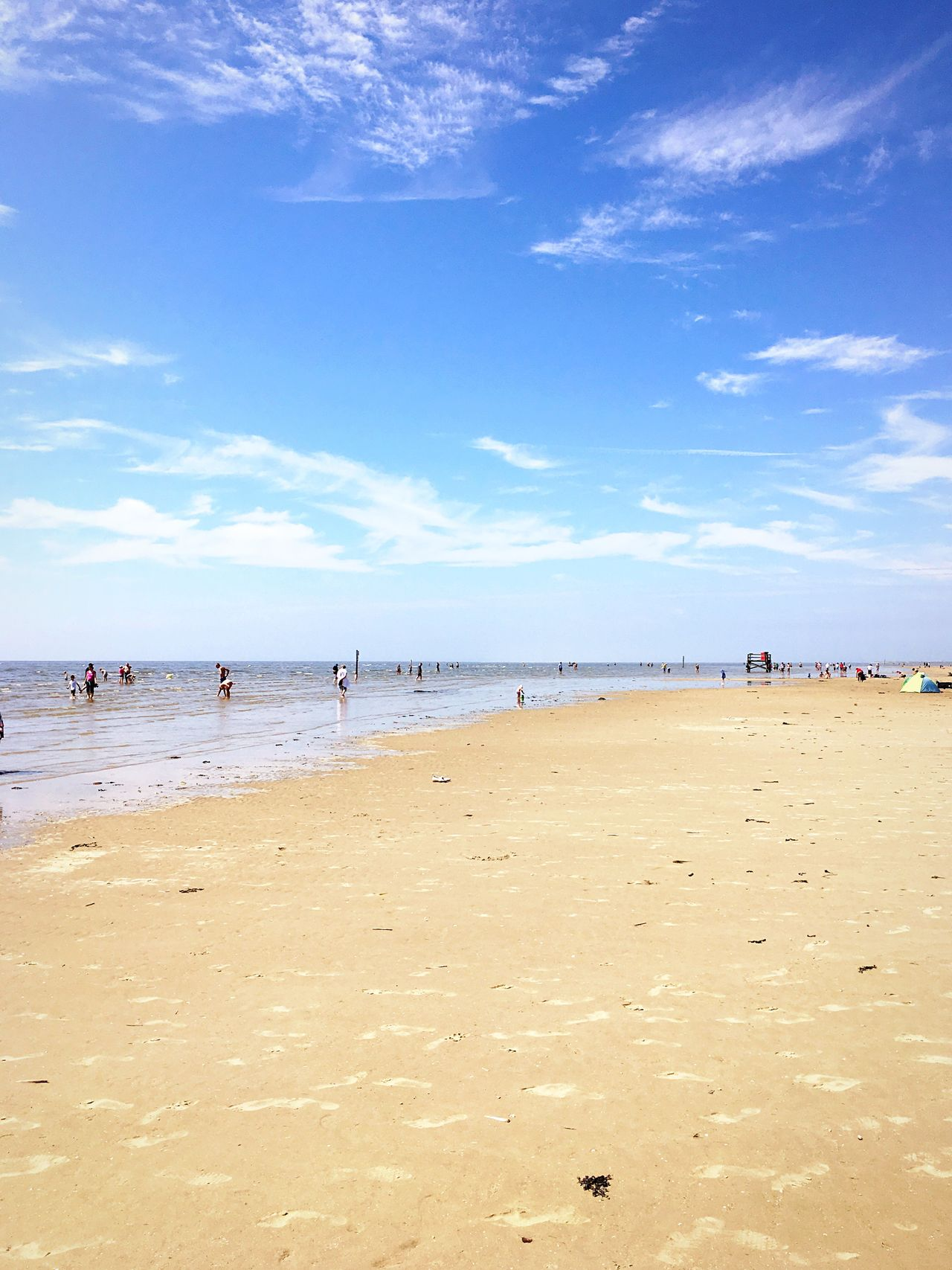 Beach Sand Sea Water Sky Scenics Day Nature Beauty In Nature Cloud - Sky Vacations Tranquility Tranquil Scene Outdoors Horizon Over Water Blue Summer Real People Large Group Of People People