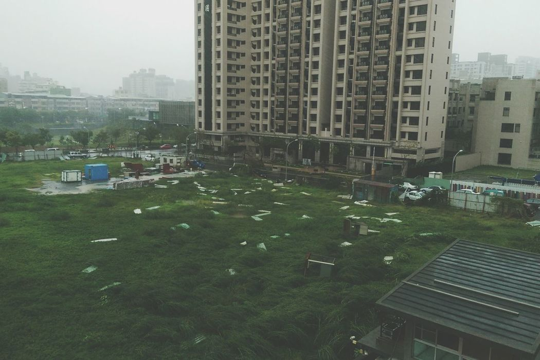 Lots of stuff broken thanks to Typhoon. Leaving bits and pieces on the ground... Broken Raining Windy Terrible