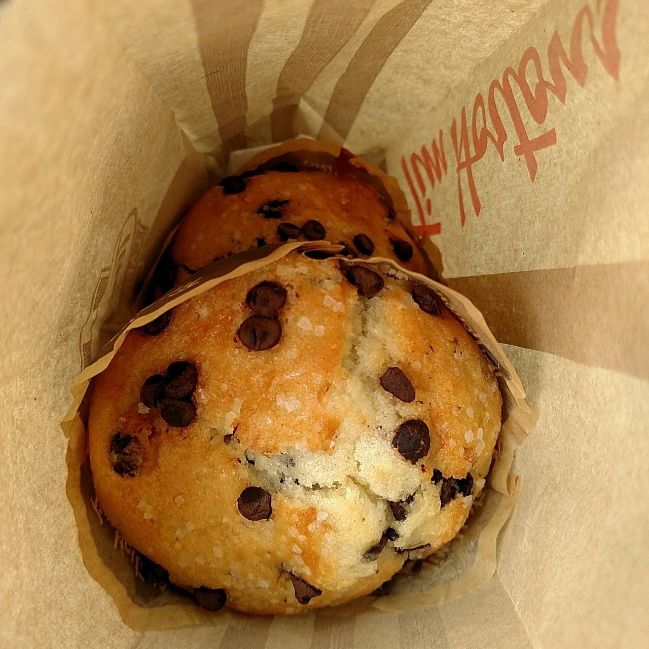 High Angle View Of Chocolate Chip Muffins