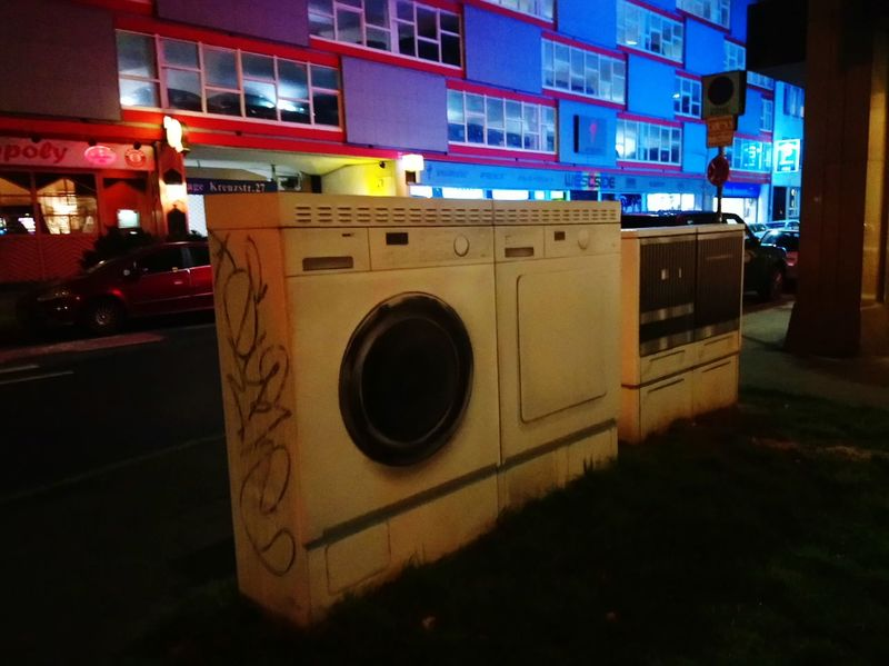 Düsseldorf Night No People Outdoors Connected By Travel Residential Building Architecture Urban Skyline Urbanphotography Miele Streetphotography Urban Nature Washing Machine