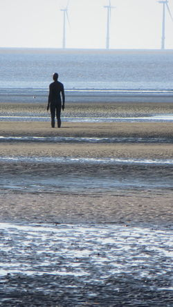 Another Place By Anthony Gormley Beach Crosby Beach Day Full Length Nature One Man Only One Person Outdoors People Rear View Sea Sky Water Waterfront