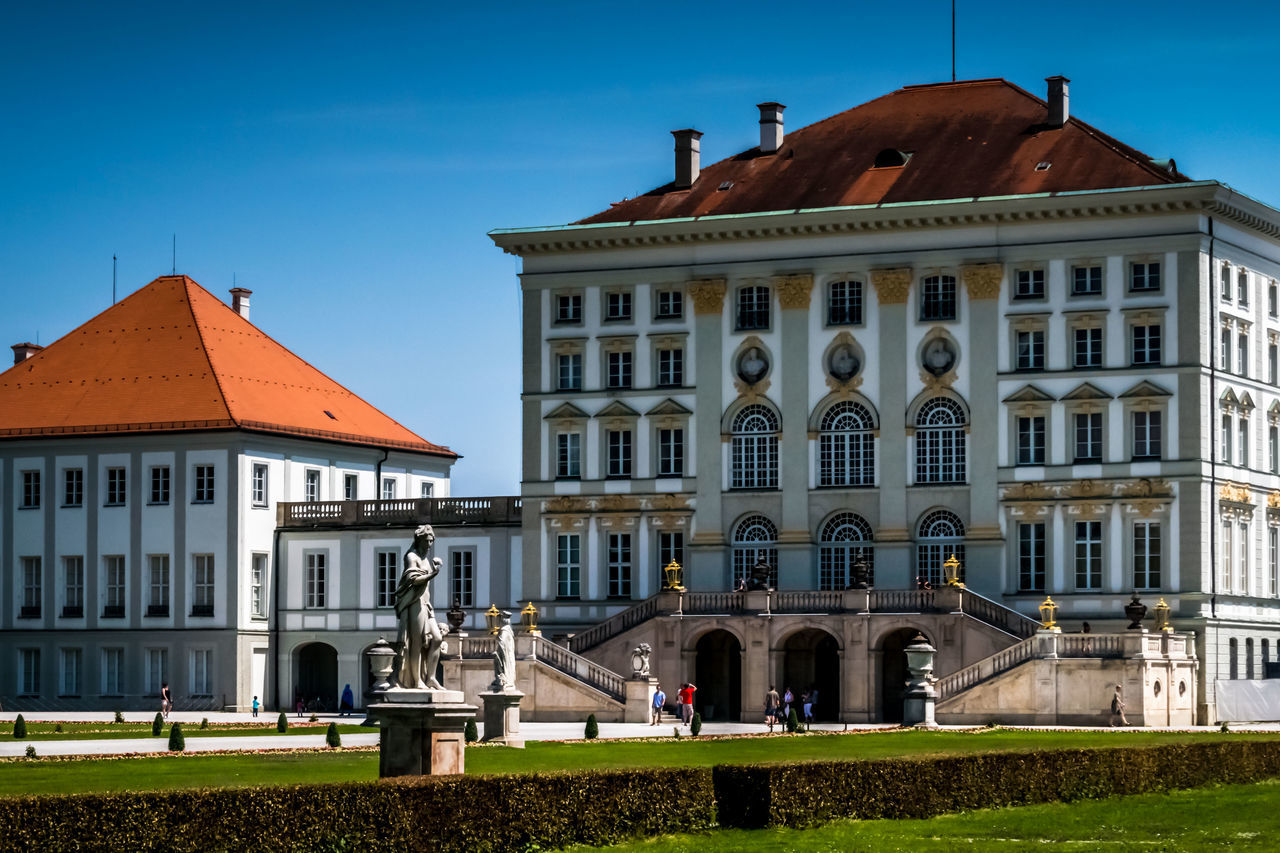 Nymphenburg Palace (outside Munich, Germany) Architecture Building Exterior Built Structure Clear Sky Day Façade Historical Building History People Royalty Sky Statue Symmetry The Architect - 2017 EyeEm Awards Travel Destinations